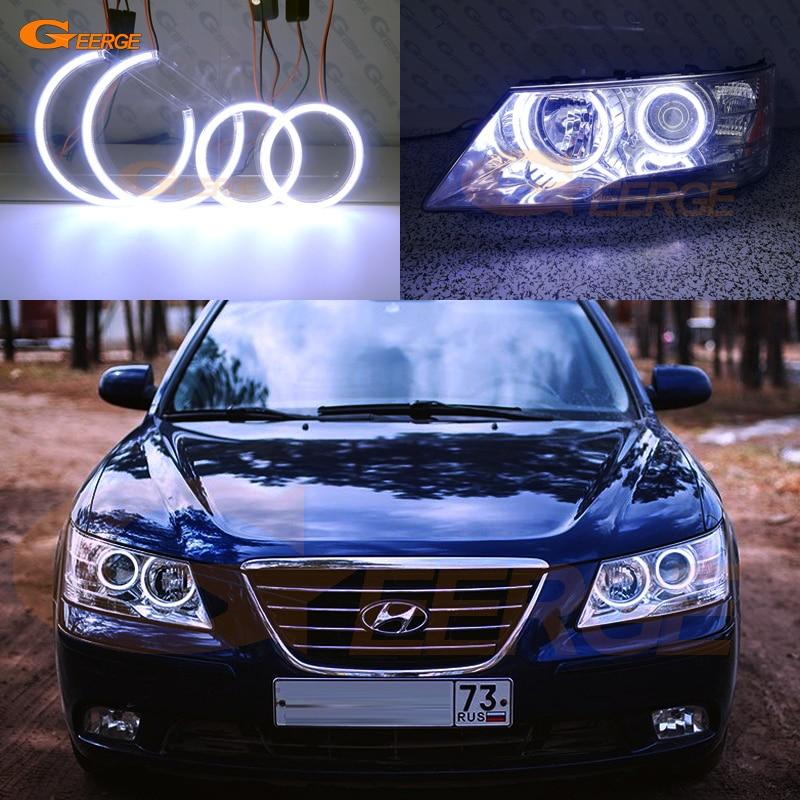 Pour Hyundai Sonata NF Transformer 2008 2009 2010 Excellente Ultra éclairage lumineux COB LED ange yeux kit halo anneaux