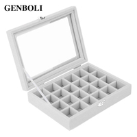 24 Slots Velvet Women Desk Jewelry Storage Box Portable Ring Necklace Jewelry Carrying Case Jewelry Storage