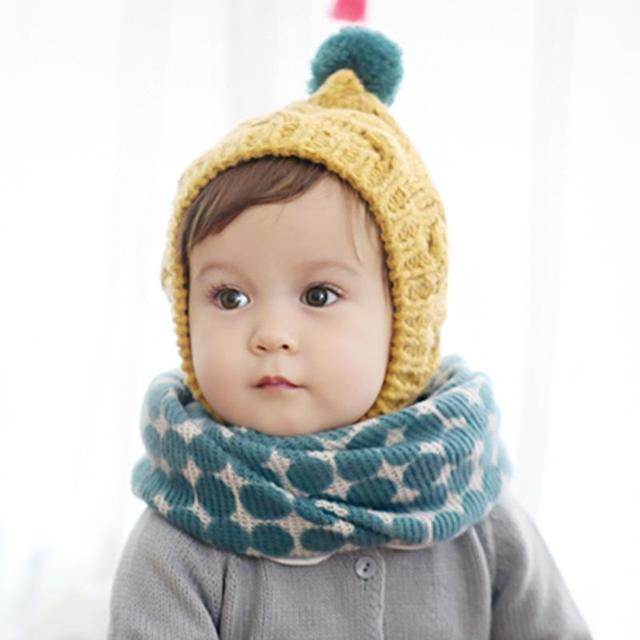 Baby Scarf Knit Wool Polka Dot Pattern Double Deck Winter Boys Girls