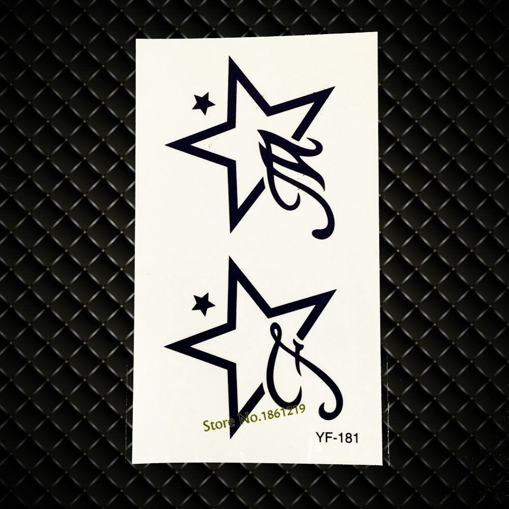 1PC Fashion Black Star Temporary Tattoo Sticker Waterproof Neck Shoulder Decals Tattoo Stickers For Men Women Party Tatoo GYF181 sticker