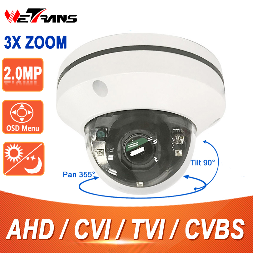 HD PTZ Camera AHD 2 Mini 1080P Full HD 2.8-8mm 3X Zoom Motorized Zoom Lens 15m Infrared Night Vision PTZ Dome Camera