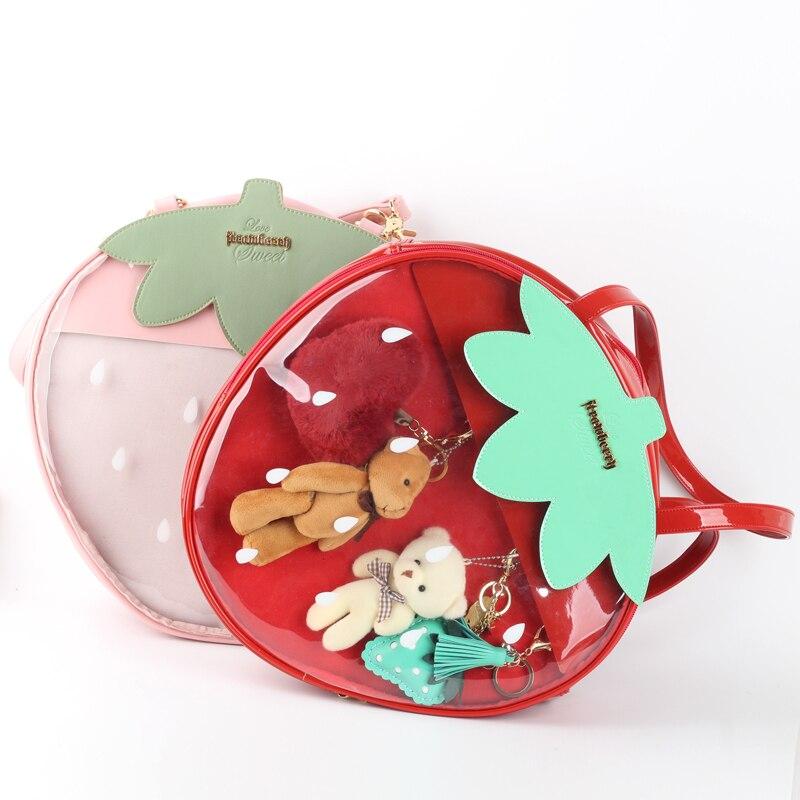 Sacs fraise Kawaii Transparent Transparent Lolita Harajuku femmes sacs à bandoulière couleur bonbon belle Ita sac doux fille cadeau Itabag