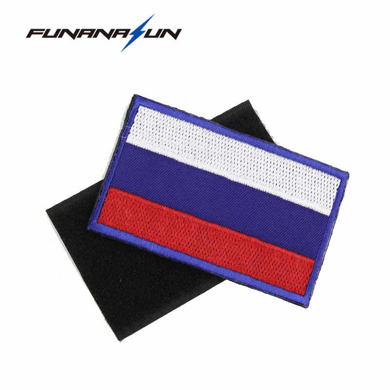 6e4e1142104 Tactical Russia Flag Embroidery Patch Military 3D Badge Backside Stickers  for Clothes Uniform Hook Loop