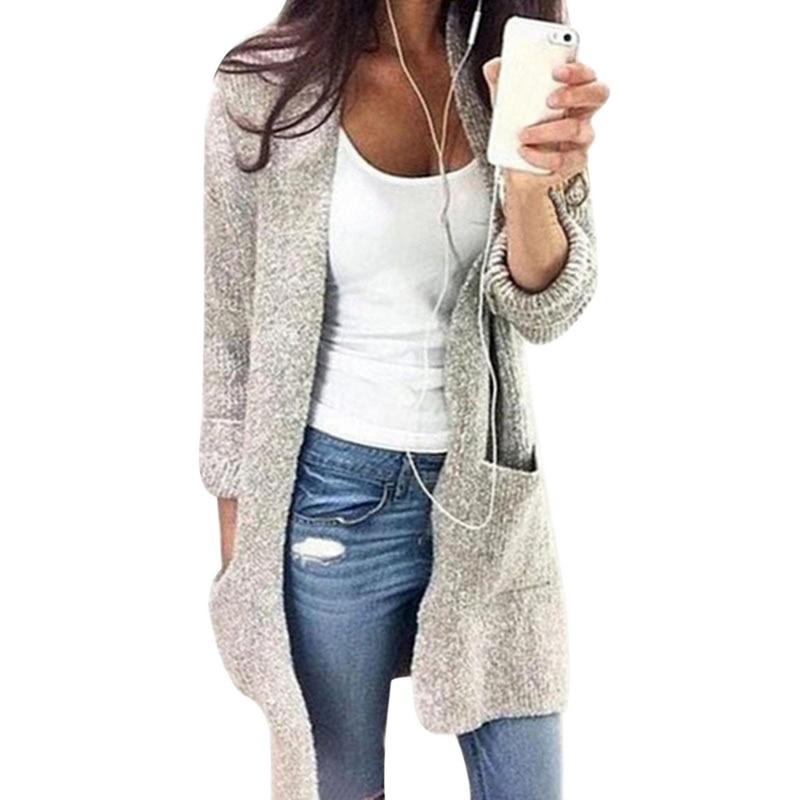 Modo Cardigan Grandi Inverno Femminile Autunno Solido Tasche Di Dimensioni  Lungo Delle Casual 5xl Donne Maglione ... b952179e3a8