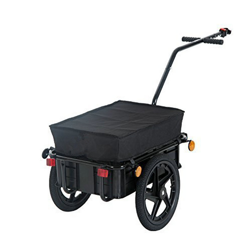 16 Inch Air Wheel Bicycle Trailer With Suitcase, Large Capacity Enclosed Bicycle Cargo Trailer, Load 99LBS Pet Stroller Wagon
