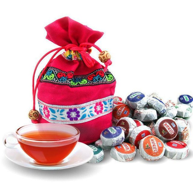 На Продажу!!! 50 Виды Flavor Пу эр, Pu'erh чай, мини Юньнань Пуэр чай, китайский чай, с Мешком Подарков, бесплатная Доставка