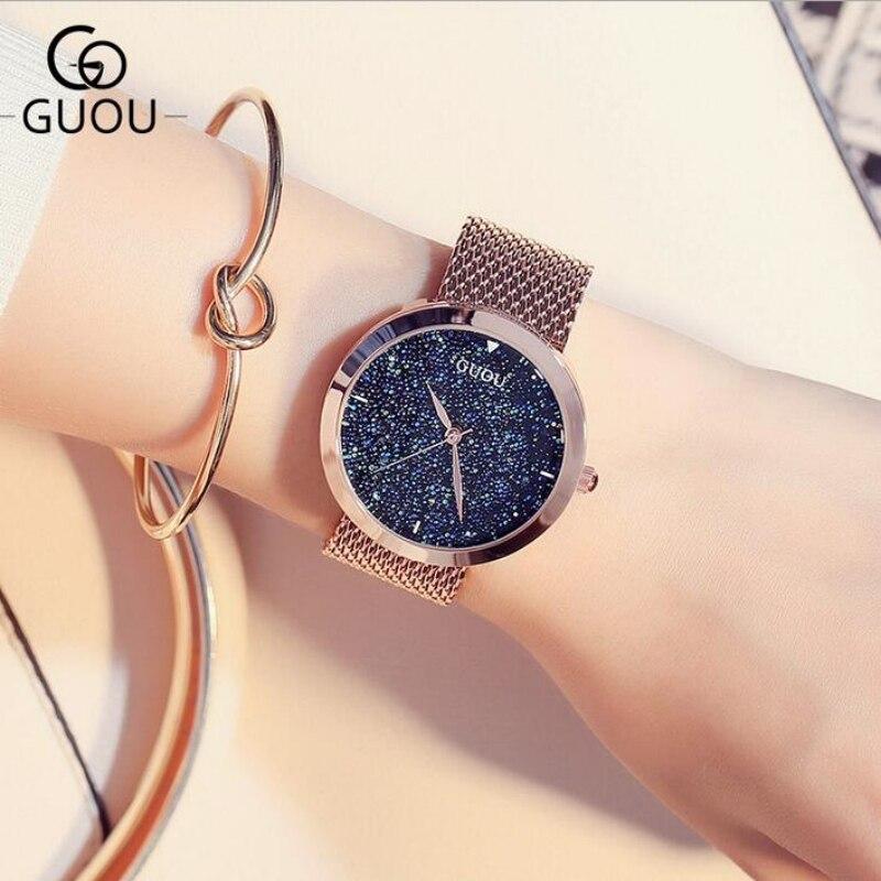 GUOU Роскошные Звездное небо часы для женщин часы розовое золото для женщин часы Лидирующий бренд женские наручные часы reloj mujer женские часы