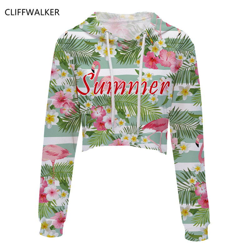 Dropshipping Spring Summer 3D Printing Flowers Long-sleeved For Men Women Hooded Short Paragraph Sexy Exposed Navel Sweatshirts