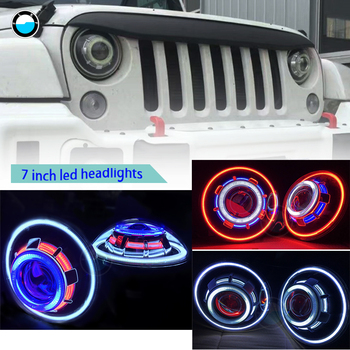 2 PCS 7 Inches LED Starry Headlights With 7LED headlight Devil Eye & Demon Angel For Jeep Wrangler JK.