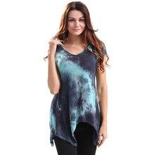 2017 Summer Hot Sale Short Sleeve V-neck Irregular Hem Casual Tee Tops Woman Long Loose Tie-dyed T-shirt