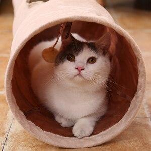 Image 2 - 높은 품질 애완 동물 터널 긴 120 cm 2 구멍 고양이 강아지 토끼 티저 재미 있은 숨기기 터널 장난감 공 collapsible 고양이 터널