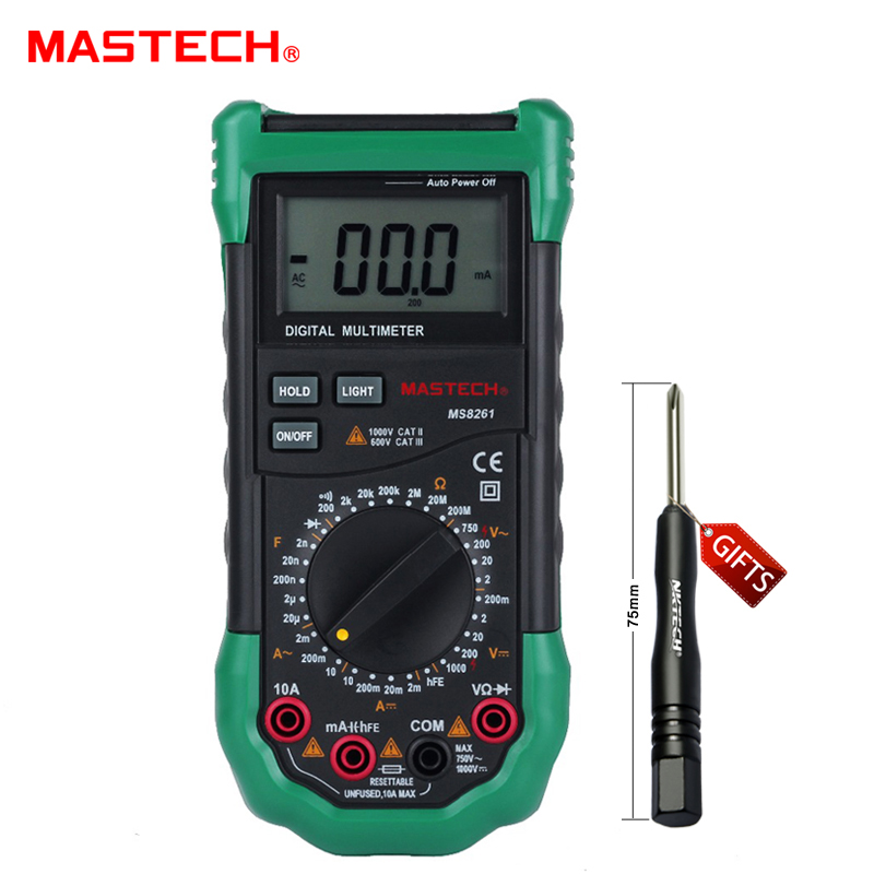 mastech ms8261 digital multimeter 3 1 2 ac dc v acapacitance resistance transistor tester meter. Black Bedroom Furniture Sets. Home Design Ideas