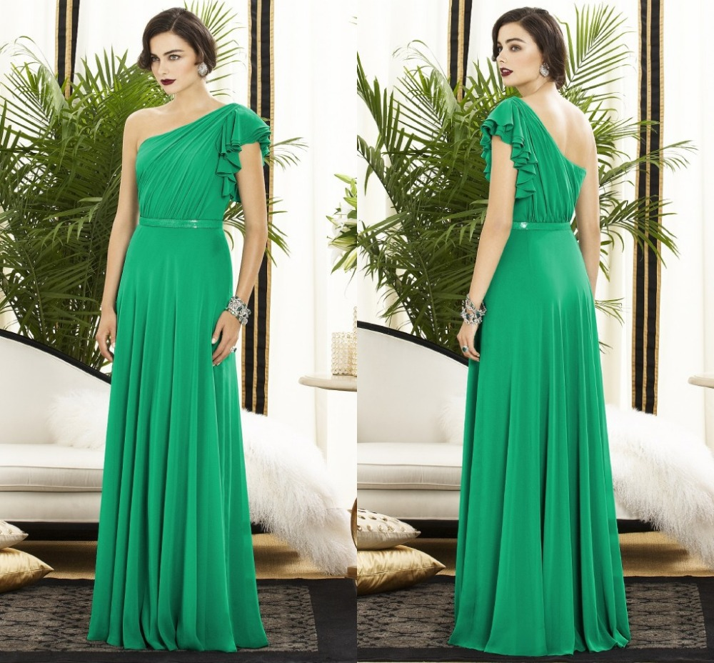 Aliexpress buy fashioable green one shoulder bridesmaid aliexpress buy fashioable green one shoulder bridesmaid dresses long chiffon maid of honor dresses robe demoiselle dhonneur custom made dbd27 from ombrellifo Choice Image