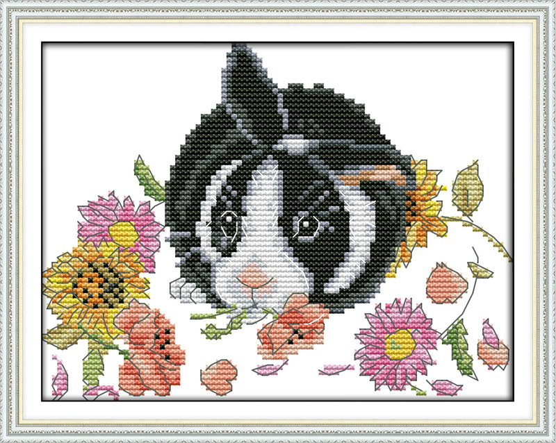The little rabbit in flowers Printed Canvas DMC Counted Chinese Cross Stitch Kits printed Cross-stitch set Embroidery Needlework