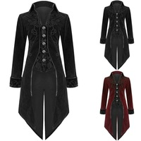 Fashion Mens Long Tailcoat Trench Retro Style Uniform Costume Party Cosplay Outwear Gothic Steampunk Coat Steam punk Men X9107