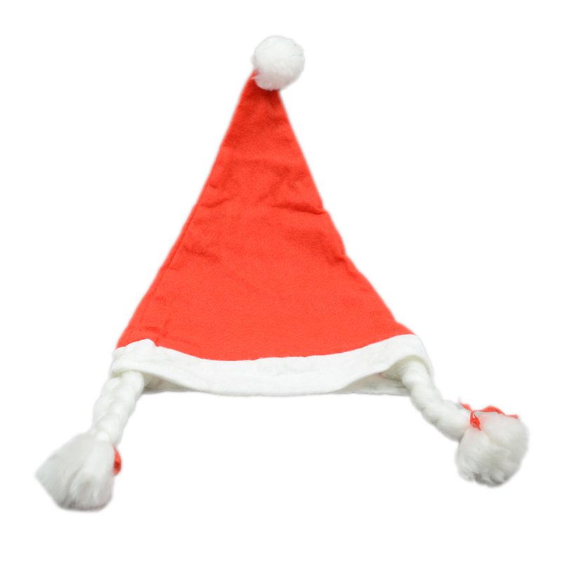 YONTREE 1 Pc Hot Woman Christmas Holiday Party Santa Claus Hat with Plaits Xmas Cap Gifts H1290