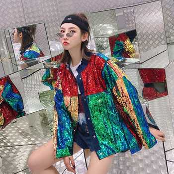 SexeMara fashion The New rainbow Color matching Heavy work Sequin Loose Burr denim jacket free shipping - DISCOUNT ITEM  18% OFF All Category