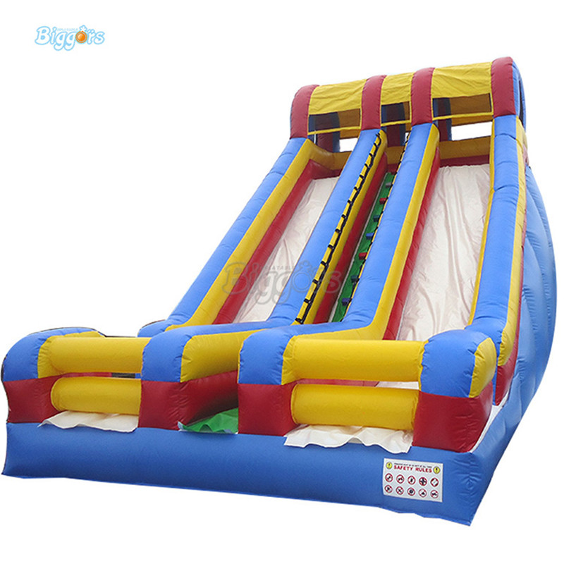 Inflatable Double lane giant slide inflatable commercial dry slide with blowers