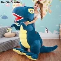 Мягкие плюшевые игрушки мультфильм синий динозавр Tyrannosaurus огромный 150 см Плюшевые игрушки Мягкая кукла обнимая Подушка игрушка подарок на д