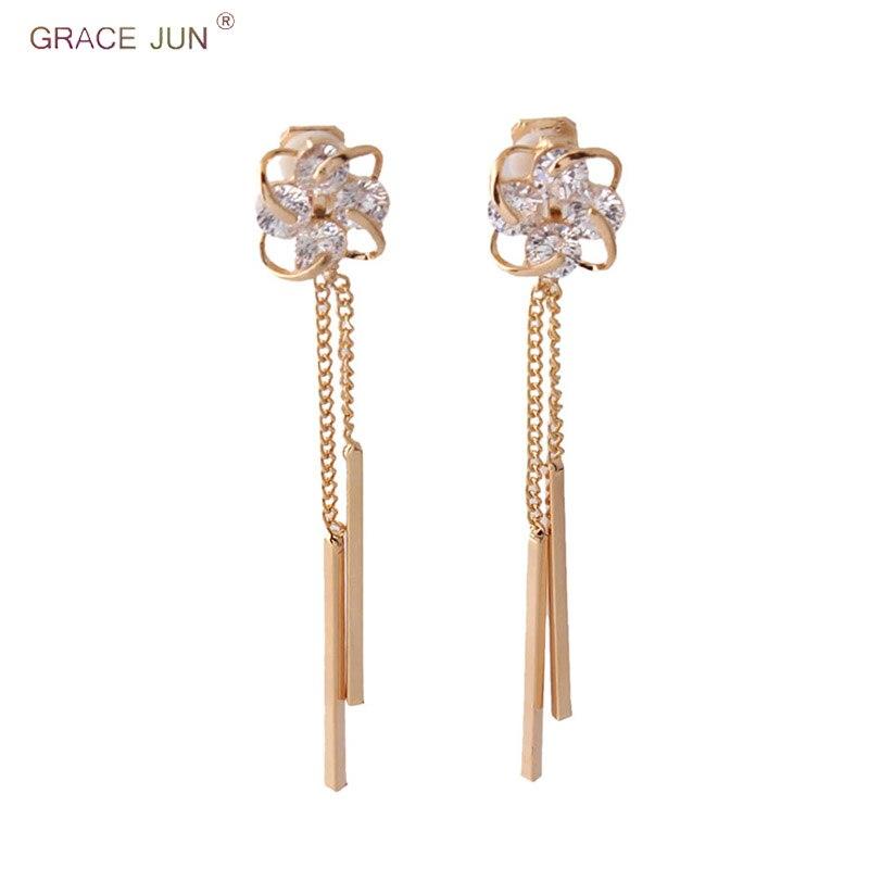 100% QualitäT Gnade Juni 2018 Gold Farbe Aaa Cubic Mode Lange Quaste Clip Auf Ohrringe Für Frauen Mode Braut Hochzeit Keine Durchbohrten Ohrringe