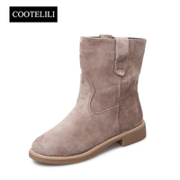 COOTELILI Women Ankle Boots Flat Heels Shoes Woman Faux Suede Leather Boots Brogue Slip On Botas