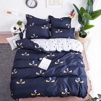 New Cartoon Little Monster Blue grey cute Bedding Sets Girls boy 3/4pcs Bed Sheet Duvet Cover Pillowcase Child Home Textile