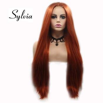 Sylvia 360 # красные синтетические u-образные кружевные передние парики, длинные шелковистые прямые волосы средней части, термостойкие волокна д...