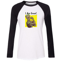 Guardians of the Galaxy I am Groot Tree people Girls T shirt For Women girls long sleeves Tee Tops   Printed Tee Cosplay costume