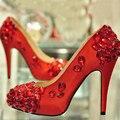 Satén Ceremonia de Boda Tacones Altos Zapatos Rojos de La Boda para La Novia Madre vestidos de Baile Zapatos