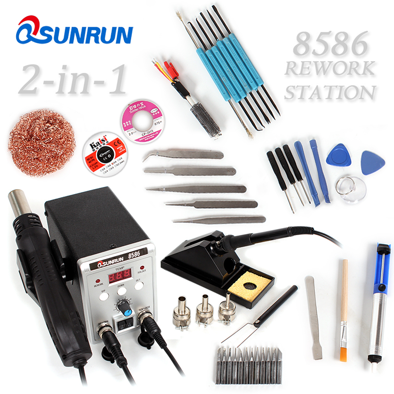 Qsunrun 8586 700W Soldering Station 110V 220V US EU Plug 2 in 1 SMD Rework Soldering