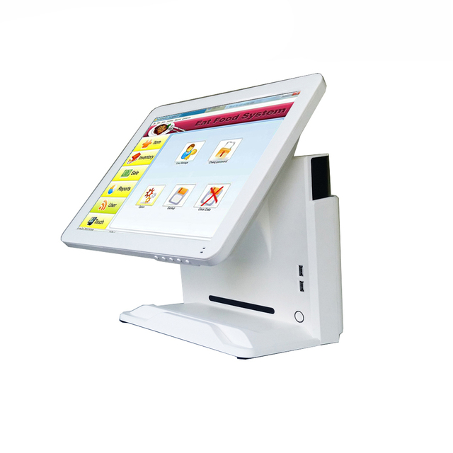 Flash Promo 1619B Compos 15 Inch Touch Screen Display Cash Register Cash Register 64G SSDHard Driver 4GB Memory Support Card Reader Scanner