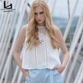 Hui Lin Rendas Sem Mangas Curtas Das Mulheres Camisas Brancas Mulheres Tops Doce Menina Casual Tops Venda Quente Novo Projeto do Verão