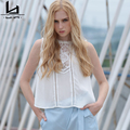 Hui Lin Women Shirts White Lace Sleeveless Short Women Tops Sweet Casual Girl Tops Hot Sale New Design Summer