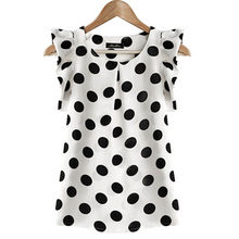 Summer Womens Chiffon Puffed Short Sleeve Dot Print Tops Blouse New Arrival 2018(China)