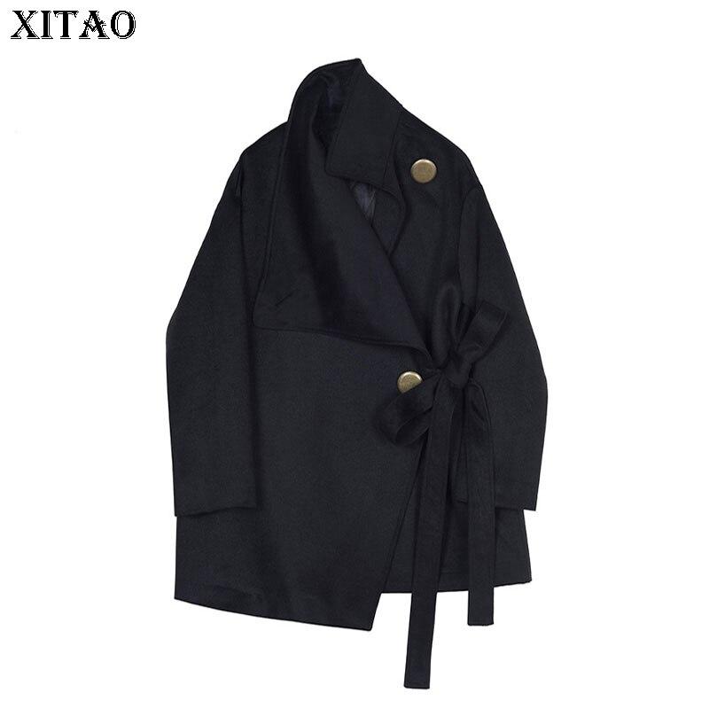 Black Xww2296 xitao Solido Cappotti Metallo Dolcevita Delle Della Donne Di Inverno Autunno Corea Sciolti Bottone Miscele Nuovo Femminile Fasciatura In 2018 Colore Dell'annata qWrqAR1B