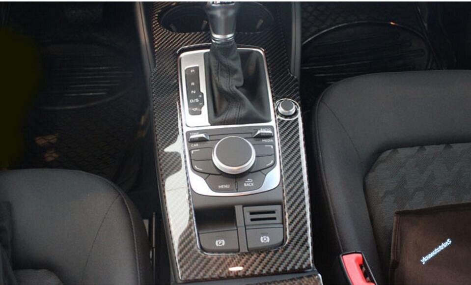 Accessories ! Carbon Fiber ! For Audi A3 2014-2017 Gear Shifter Box panel Decoration Molding Cover Trim 1 PCS