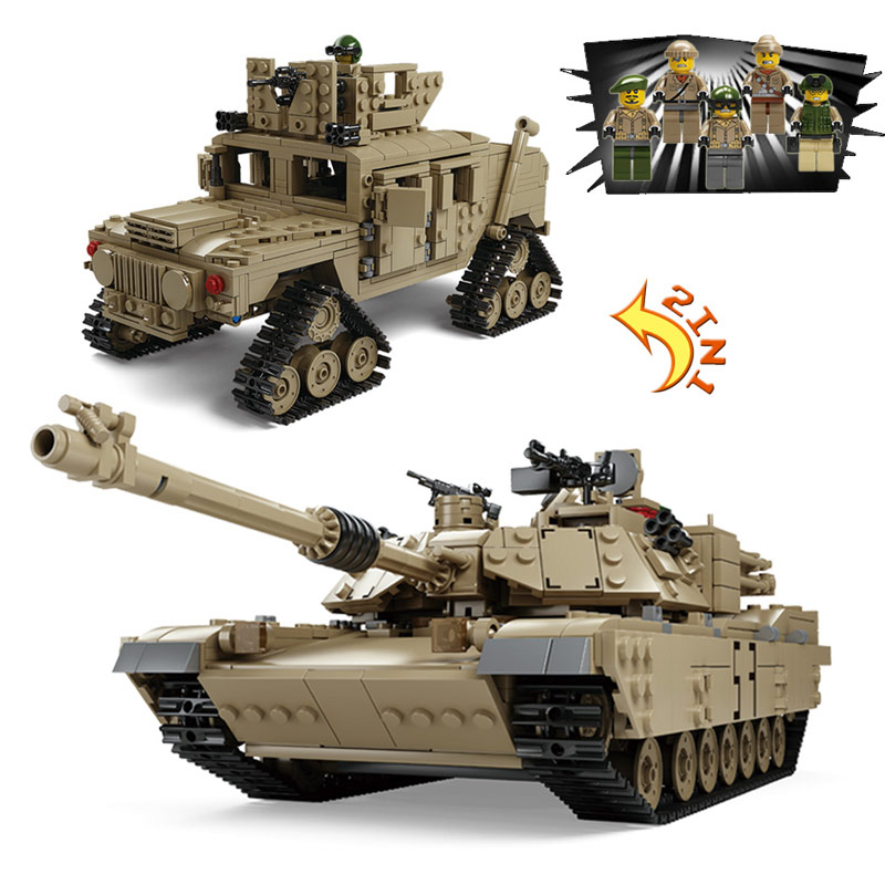 KAZI Army Military Tank Building Blocks DIY M1A2 ABRAMS MBT Tank Cannon Deformation Hummer Car Action Figures Compatible Legoe kazi large military 1463pcs 2in1 tank hummer building blocks bricks army war models toys for boys children compatible lepin