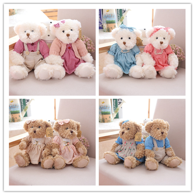 2 pcs/pair 26cm Lovely Couple Teddy Bear With Cloth Plush Toys Dolls Stuffed Toy Kids Baby Children Girl Birthday Christmas Gift cartoon movie teddy bear ted plush toys soft stuffed animal dolls classic toy 45cm 18 kids gift
