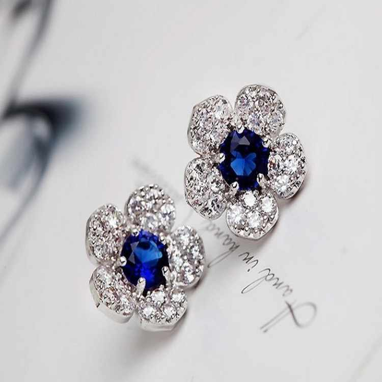 Charming Blue Crystal Flower Full Zirconia Cz Crystal Leaves Stud Earrings For Women Girls Piercing Jewelry Flowers Earrings
