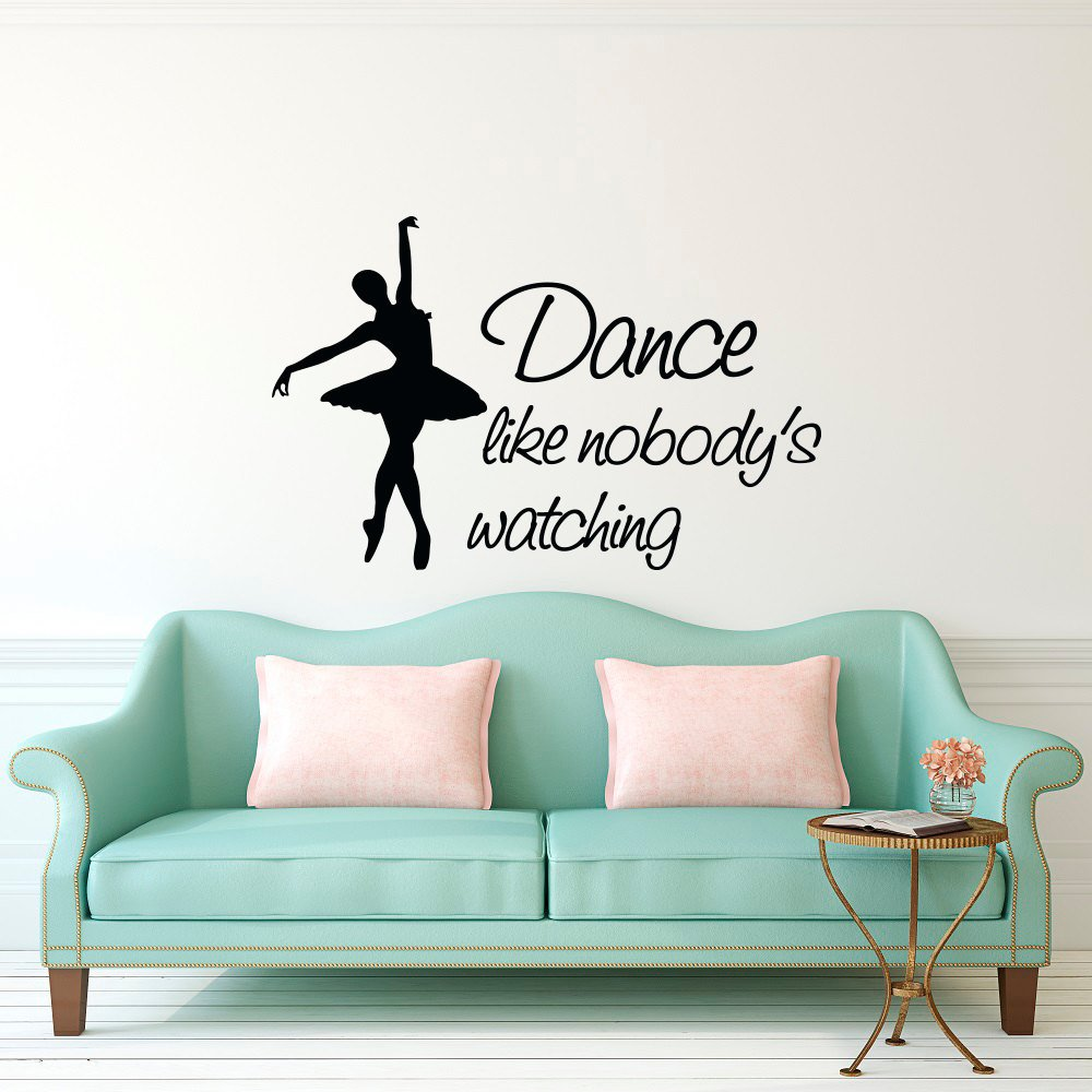 Dance Wall Decals Quotes Dance Like Nobodys Wathing Ballet Wall Sticker Girls Bedroom Decorations Ballerina Decal Mural G208 Wall Stickers Home & Garden