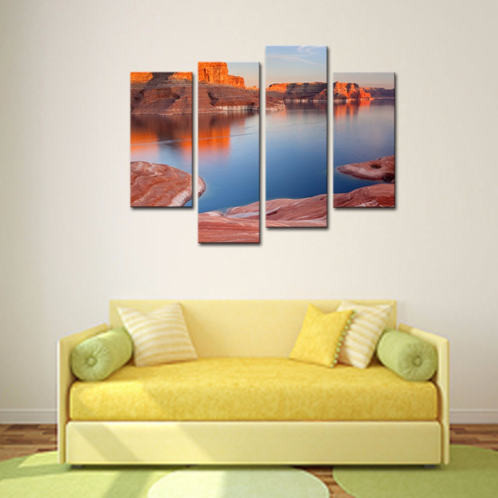4 Panels Modern Canvas Painting America Grand Canyon Natural Scenic ...