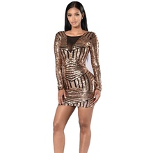New Arrival Autumn Women Gold Sequin Dress Long Sleeve Plus Size Bodycon Backless Sexy Dress Mini Party Clubwear CP1633