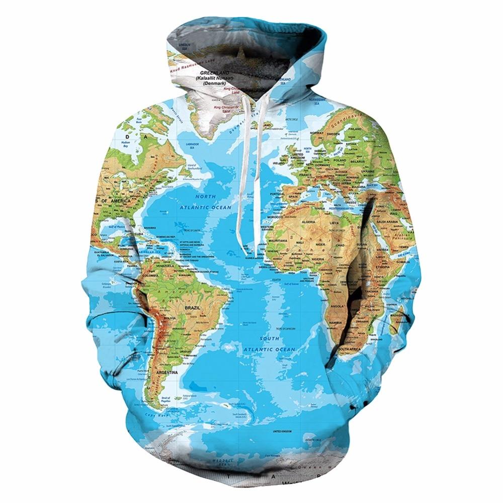 KYKU Brand World Map Sweatshirts Earth Sweat shirt Funny 3d hoo s