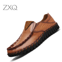 Handmade Leather Shoes Men Casual Shoes Slip on Split Leather Mens Loafers Moccasins Breathable Driving Shoes
