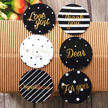 60pcs Classic thank you love words Gilding style Adhesive Baking sealing label For Party Favor Gift Bag Candy Box Decor
