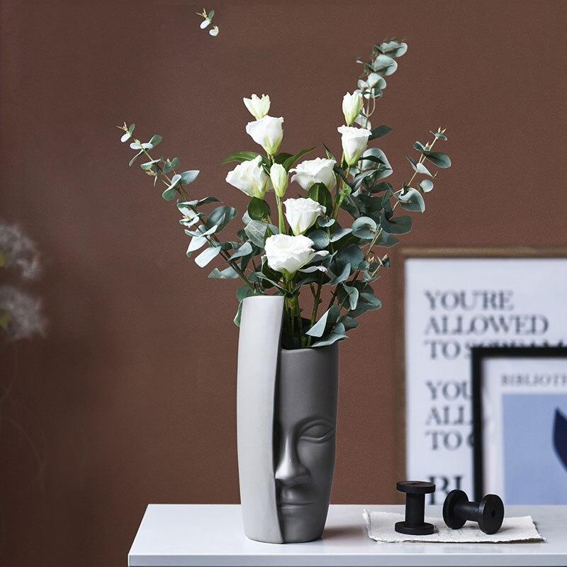 Creatieve Hoofd Vaas Decoratie Thuis Gepersonaliseerde Keramische Vazen Filler Voor Bloemen Kantoor Tafel Woonkamer Accessoires Grote Vaas-in Vazen van Huis & Tuin op  Groep 2