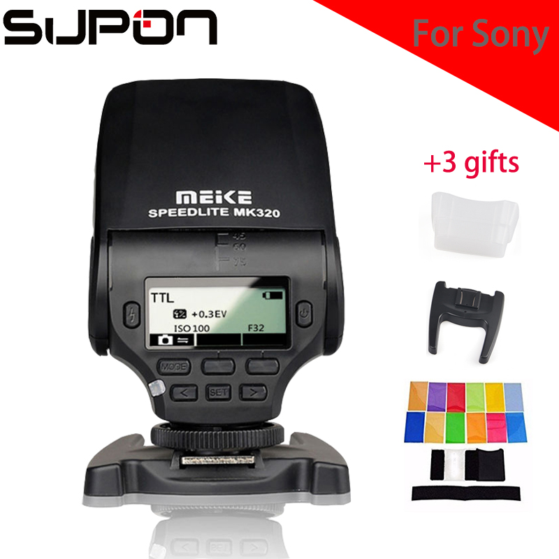 Meike MK320S GN32 TTL Flash Speedlight Compact Flash for Sony A7 A7S A7R A6000 A5000 NEX-6 NEX-5R NEX-5T NEX-3 meida universal speedlight to hot shoe adapter for sony nex 3 nex 3c more silver