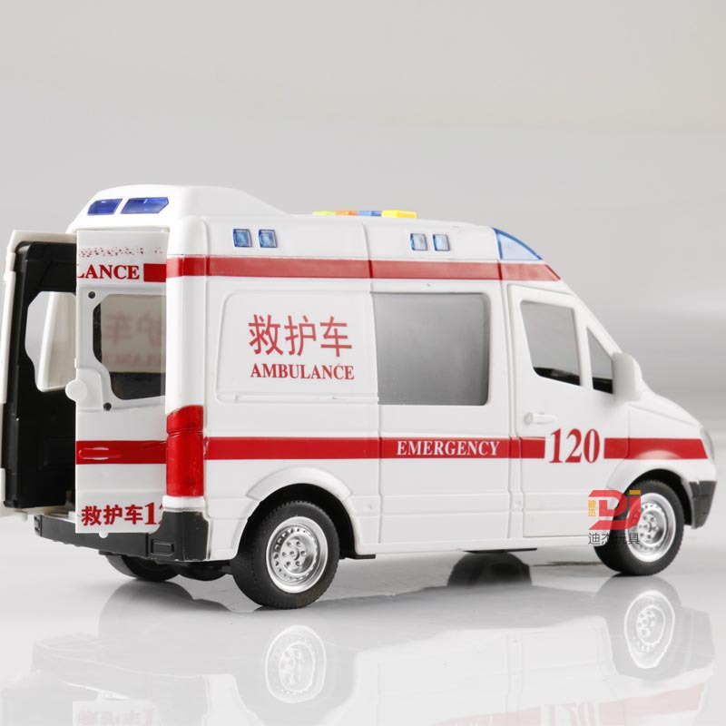 BIG SIZE 1:16 Inertial Ambulance Model Singing Poems Car Model Kid's Toy Car Voice Pop Songs Reciting Tang Poetry Telling Story image