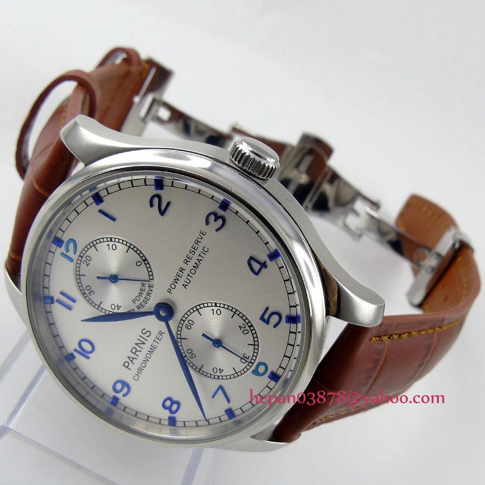 Prix pour Parnis montre 43mm Power reserve cadran Blanc brun bracelet en cuir boucle déployante ST2542 Automatique mouvement Hommes de montre 99