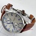 Parnis reloj 43mm Power reserve esfera Blanca correa de cuero marrón cierre desplegable ST2542 reloj de movimiento Automático de Los Hombres 99